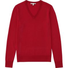 UNIQLO Extra Fine Merino V Neck Sweater (2.310 RUB) ❤ liked on Polyvore featuring tops, sweaters, v-neck sweater, textured sweater, v neck sweater, red top and red sweater