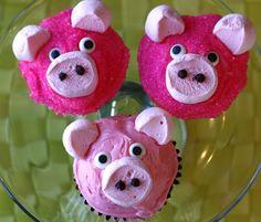 Piggy Cupcakes for a Peppa the Pig Party Piggy Cupcakes, Yummy Cupcakes, Filled Cupcakes, Easy Animal Cupcakes, Sheep Cupcakes, Diy Cupcake, Cupcake Cakes, Cupcake Ideas, Cupcake Recipes