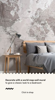 Add an intriguing focal point to your wall with this neutral world map wallpaper, a versatile design that will impress. World Map Mural, World Map Wallpaper, Color World Map, Interior Walls, Interior Design, Craftsman Home Interiors, Standard Wallpaper, Classic Interior, Minimalist Decor