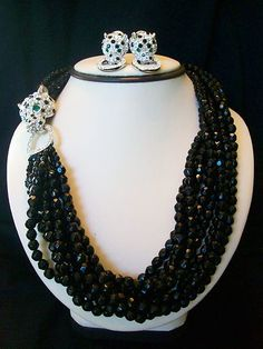 Vintage Kenneth J Lane KJL Rhinestone Glass Panther Torsade Necklace Earrings   eBay