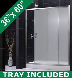 DreamLine INFINITY 56-60 Frosted Glass Shower Door & AMAZON Base Kit - 60 x 72 Shower Door with 36 x 60 Right Drain Base by DreamLine. $813.95. DreamLine introduces shower door and matching base combos. With a single large sliding door complemented by a fixed side door, the INFINITY collection provides a wide shower entry with a clean open glass look. All AMAZON shower bases come standard with slip-resistant textured floor patterns and 3-side integrated tile flanges. Each s...