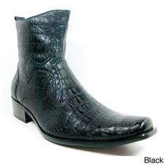 These crocodile cowboy boots are for the stylish man who wants to be noticed. They have a pointed toe and embossed outsole that gives them a Western look that's as distinctive as it is cool, and they come in three different colors to match your outfit.