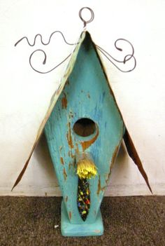 Birdhouse - Aqua with Aqua Roof and yellow paintbrush perch!