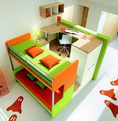 Colorful and Modern Kids Bedroom Furniture with Double Bunk Beds with Stairs and Storage