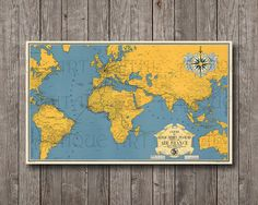 Vintage World Map 6x10 France Yellow and blue by AntiqueArtDigital