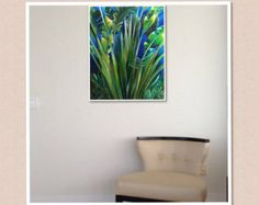 Art, Painting, Contemporary, Green Yellow Blue Painting, Still life, Giclee on Canvas Title: A TRAVELER'S PALM