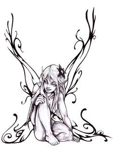 fairy sketches black and white - Google Search