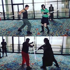 A bit more #dragoncon practice from yesterday #lightsaber #stagecombat #starwars #jedi
