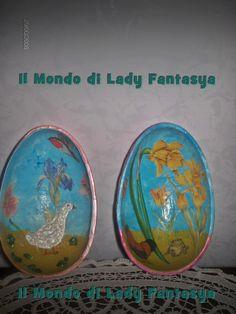 ...Particolare decorazione interna a decoupage di uovo in mdf