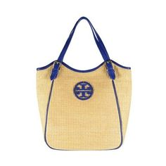 Tory Burch Small Straw Slouchy Tote Natural Navy ($300) ❤ liked on Polyvore featuring bags, handbags, tote bags, natural blue nile, tory burch purse, navy blue tote bag, navy tote, straw tote handbags and handbags totes