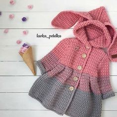 Discover thousands of images about ione ribeiro rocumback Cardigan Bebe, Crochet Baby Cardigan, Crochet Coat, Baby Girl Crochet, Crochet Baby Clothes, Crochet Jacket, Crochet For Kids, Diy Crochet, Baby Knitting Patterns