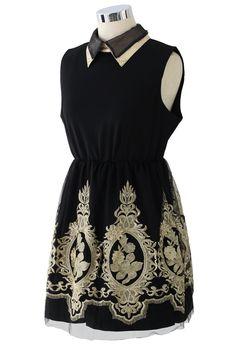 Cocktail black and gold embroidery dress. For more fashion inspiration visit www.mylittleblackdressstore.com cocktail dresses.