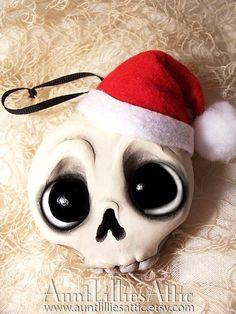 Christmas Skull Ornament  Christmas by AuntLilliesAttic on Etsy