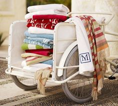 Rex Ikat Pool Towel | Pottery Barn  Inspiration to update vintage yard cart on property