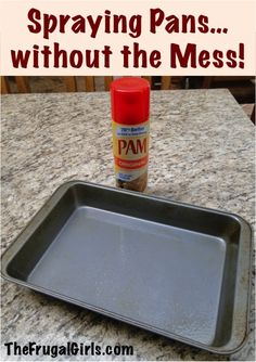 Spraying Pans… without the Mess! - at TheFrugalGirls.com {I love this simple little kitchen tip!} + MORE kitchen tips and tricks!