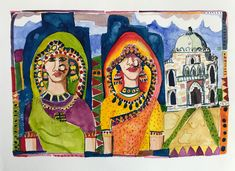 Watercolour India New Delhi 2018 Two Ladies, New Delhi, Watercolour, Faces, Princess Zelda, India, Painting, Fictional Characters, Art