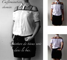 Customisation d'une longue chemise blanche à longues manches.