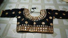 Blouse stuff: Golden Gota Patti work on Dhupian fabric, max one can alter according to size. Blouse Styles, Blouse Designs, Blouses, Fabric, Tops, Women, Fashion, Tejido, Moda