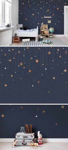 This star wallpaper would be lovely for a kids' room or nursery. How can you go wrong with interior design that inspires stargazing, space adventures and imaginative play? Lovely inspiration for a children's room. Baby Bedroom, Kids Bedroom, Bedroom Decor, Kids Rooms, Bedroom Modern, Childrens Bedrooms Boys, Wall Murals Bedroom, Bedroom Ideas, Nursery Ideas