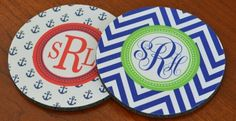 Personalized Coasters – Set of Four! Available in 15 Patterns with Custom Monogram or Name