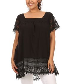 Loving this Black Lace-Accent Hi-Low Tee - Plus on #zulily! #zulilyfinds