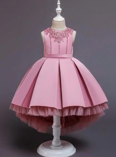 Girls Pleated Tulle Hi-Lo Special Occasion Dress Girls Pageant Dresses, Gowns For Girls, Girls Formal Dresses, Dresses Kids Girl, Girl Outfits, Flower Girl Dresses, Flower Girls, Long Dresses, Prom Dresses