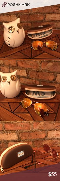 TOMS Aviator Sunglasses - Yellow gold lenses - Gold frame - Tortoise shell arms with small orange accent - Worn once or twice. In EXCELLENT condition - Original lens cloth cleaner - Original Toms protective case Toms Accessories Sunglasses