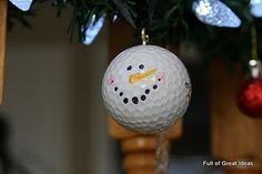 golf ball snowmen! cute DIY from kids to Dad