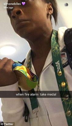 Simone Biles takes gold medal after fire alarm goes off Gymnastics Tricks, Gymnastics World, Gymnastics Quotes, Gymnastics Training, Gymnastics Team, Olympic Gymnastics, Gymnastics Funny, Gymnastics History, Gymnastics Problems
