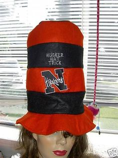 Nebraska Huskers Red Black Team Logo Tall Stove Top Hat