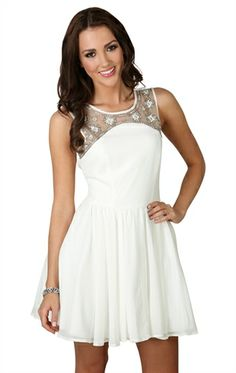 A-Line Dress with Beaded Illusion Neckline and Deep V Back  Inexpensive little dress  Next dance / Casual dress