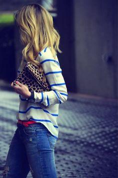 Stripe light sweater + Coral skinny belt + Distress jeans via inunomimi.tumblr.com