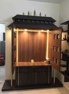 If you plan to have your own pooja room designed l Room Interior, Home Interior Design, Interior Ideas, Temple Room, Temple Design For Home, Wooden Sofa Set Designs, Mandir Design, Pooja Mandir, Living Room Tv Unit Designs
