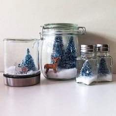 DIY Snow globes including Anthropologie inspired salt shaker snow globes