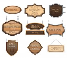 Vintage wooden signboards, a set of different figures, for decorating restaurants and cafes. Carved Wood Signs, Wooden Signs, Welcome Wood Sign, Restaurant Names, Cafe House, Cow Skull, Restaurants, Business Signs, Room Signs