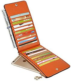 YALUXE Women's Genuine Leather Multi Card Organizer Wallet with Zipper Pocket Orange at Amazon Women's Clothing store: