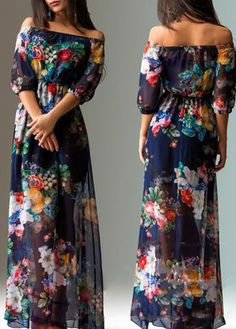 Flower Print Off the Shoulder Chiffon Maxi Dress - USD $26.49 #maxidress #dress #chiffon