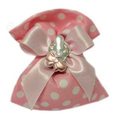Sacchetto rosa pois bianchi confezionato Bimba Ciuccio argento rosa