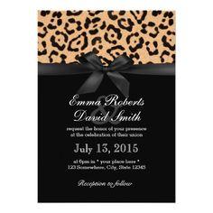 Shop Modern Leopard Print Black Ribbon Wedding Invitation created by myinvitation. Cheetah Print Wedding, Animal Print Wedding, Leopard Wedding, Leopard Print Party, Modern Wedding Invitations, Custom Invitations, Invitation Cards, Wedding Cards, Ribbon Wedding