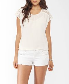 Embroidered Mesh Panel Top from Forever21.com