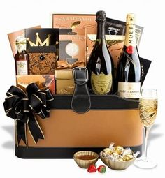 This Gift Basket featuring Moet and Chandon Imperial Champagne is an affordable and impressive gift collection when you need to thank a client or sent a couple a wedding gift.