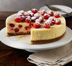 Baked raspberry & lemon cheesecake ... A Rich and creamy baked cheesecake that makes a great dinner party... Cooking time. Prep: 20 mins Cook: 1 hr, 45 mins... Plus overnight chilling Skill level. Easy... Servings. Serves 8...
