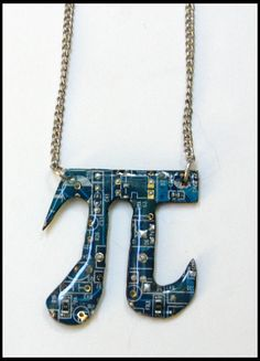 Blue Pi Circuit Board Necklace