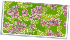 Checkbook Cover    Preppy pink green floral by rabbitholeonline, $6.25