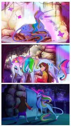 Mabel and a gorgeous beautiful rainbow awesome unicorn!