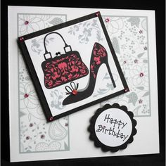 Handbag and Shoe birthday greeting card £2.50. Personalised to order. The card is blank inside and measures approx 14.5cm x 14.5cm. Supplied with a cellophane wrapper and envelope.
