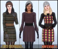 Sims 3 Download: Snow Twinkle - Sweater Dress Outerwear for Adult-to-Elder | Ace Creators