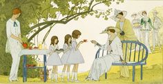 muhuahuah:  Andre Edouard Marty, Tea in the Garden, dresses for a garden party, place 1 from 'Gazette du Bon Ton', August 1913