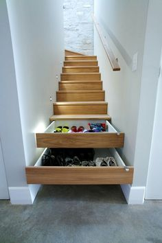 Home Storage solutions for a split level entryway Selecting The Right Patio Furniture Cushions Artic Stair Drawers, Stair Storage, Hidden Storage, Extra Storage, Staircase Storage, Bedroom Storage, Hidden Shelf, Stairs With Storage, Secret Storage