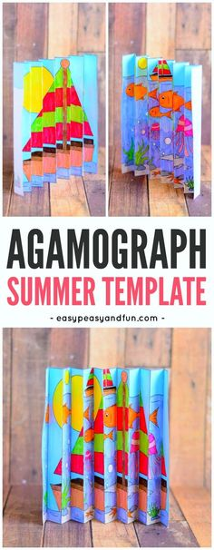 Arts & Crafts for Kids: Summer-themed Agamograph pictures. Great fine motor skill practice with the accordion folding. Craft Activities For Kids, Projects For Kids, Diy For Kids, Crafts For Kids, Craft Ideas, Summer Crafts, Fun Crafts, Arts And Crafts, Paper Crafts